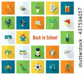 school and education icon set.... | Shutterstock .eps vector #437536057
