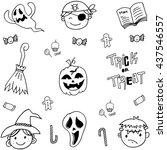 doodle of cute face halloween...   Shutterstock .eps vector #437546557