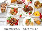 assorted grilled meats and... | Shutterstock . vector #437574817