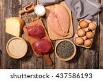 food high in protein protein... | Shutterstock . vector #437586193