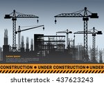 building under construction... | Shutterstock .eps vector #437623243