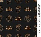 music seamless pattern thin... | Shutterstock .eps vector #437628103
