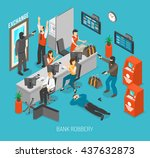 bank robbery concept isometric... | Shutterstock .eps vector #437632873