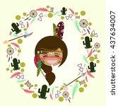set of native american element... | Shutterstock .eps vector #437634007