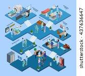 hospital isometric infographics ... | Shutterstock .eps vector #437636647