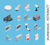 home security system elements... | Shutterstock .eps vector #437636677