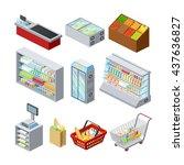 supermarket shelves showcases... | Shutterstock .eps vector #437636827