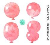 vector. set of watercolor... | Shutterstock .eps vector #437639923