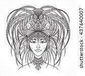 brazilian carnival woman in...   Shutterstock .eps vector #437640007