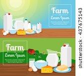 milk farm banners. horizontal...