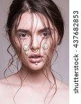 beauty shooting with brunete...   Shutterstock . vector #437682853