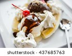 Banana Split Ice Cream Served...