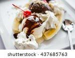 Banana Split Ice Cream Served...