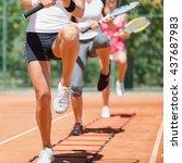 cardio tennis workout | Shutterstock . vector #437687983