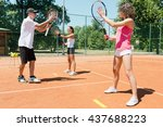 young women having lesson with... | Shutterstock . vector #437688223
