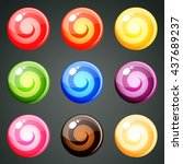 9 round colourful candies with... | Shutterstock .eps vector #437689237