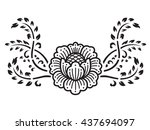 line flower and creeping plant... | Shutterstock .eps vector #437694097