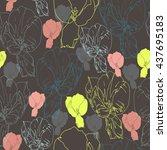 floral seamless pattern. hand... | Shutterstock .eps vector #437695183