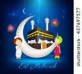 vector illustration of muslim... | Shutterstock .eps vector #437697577