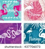 summer posters set with flamingo | Shutterstock .eps vector #437706073