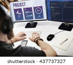 project weather broadcasting... | Shutterstock . vector #437737327