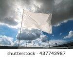 white flag waving over the... | Shutterstock . vector #437743987