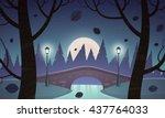 small stone bridge in the park ... | Shutterstock .eps vector #437764033