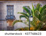 abandoned old building with... | Shutterstock . vector #437768623