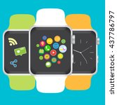smart watch with icons. vector... | Shutterstock .eps vector #437786797