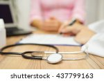 doctor is writing prescription... | Shutterstock . vector #437799163