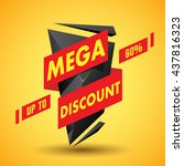 mega discount label | Shutterstock .eps vector #437816323
