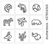 vector set of africa animals... | Shutterstock .eps vector #437816563