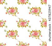 seamless floral pattern with... | Shutterstock .eps vector #437825947