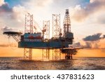 sunset time offshore jack up... | Shutterstock . vector #437831623