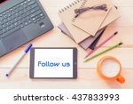 follow us concept.tablet... | Shutterstock . vector #437833993