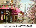 street in paris   illustration... | Shutterstock . vector #437837467