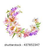watercolor flowers orchid.... | Shutterstock . vector #437852347