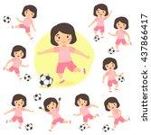 set of girl playing football.... | Shutterstock .eps vector #437866417