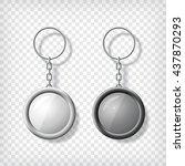 two key chain pendants mockup.... | Shutterstock .eps vector #437870293
