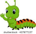 funny caterpillar runs on a...   Shutterstock .eps vector #437877157