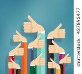 cheering business people... | Shutterstock .eps vector #437893477