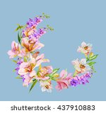 watercolor flowers orchid.... | Shutterstock . vector #437910883