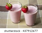 fresh strawberry smoothie  ... | Shutterstock . vector #437912677