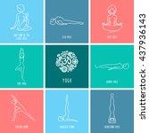 yoga pose flat line icons set ... | Shutterstock .eps vector #437936143