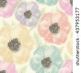 seamless pattern with flowers... | Shutterstock . vector #437953177