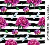 watercolor peonies and... | Shutterstock . vector #437968663