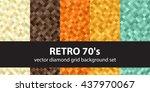 "diamond pattern set ""retro 70's""... | Shutterstock .eps vector #437970067"