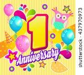anniversary. 1st birthday.... | Shutterstock .eps vector #437970973