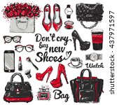 hand drawn graphic bags... | Shutterstock .eps vector #437971597