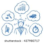 worried business man  with... | Shutterstock .eps vector #437980717
